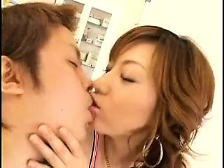 Beautiful and horny Asian housewives passionately kissi...