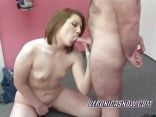 Teen Veronica sucking cock and fingering her twat