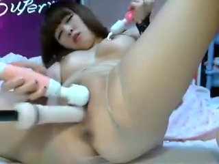Cute and chubby Japanese makes her pussy all slimy on l...