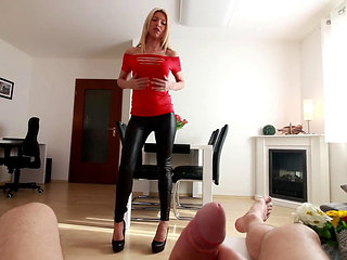 German Blonde In Leather Pants Gets Fucked Hard