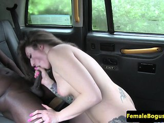 Female cabbie drools on bbc in her taxi