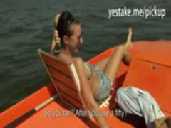 Busty amateur chick blows dick on a boat and gets banged