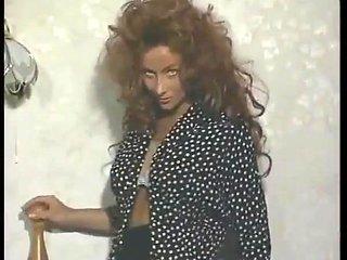 Beautiful Vida Garman - red wig and white lingerie