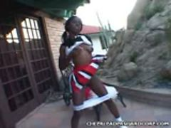 babe Ebony Cheerleader Blowjob