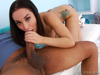 sexy black haired babe gets interracial @ anal buffet #10