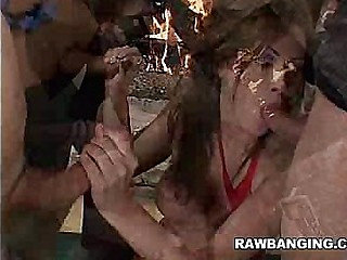 MILF in Stockings Gets Gang Banged