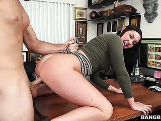 Brunette gets her many times used mouth banged again by...