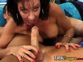 Hungry cougar jumps on cock