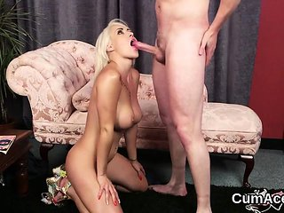 Kinky babe gets cumshot on her face eating all the love...