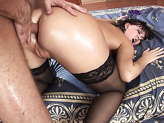 Anastasia II does striptease before masturbating with d...