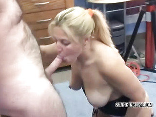 Mature Liisa is fucking a toy and sucking dick