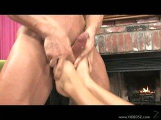 Big titted Audrey Bitoni gets splattered with warm jizz