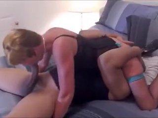 Blonde wife sucks big black fat cock and makes it pop o...