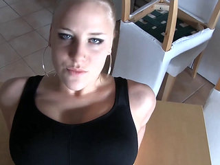 German Blonde In Yoga Pants Fucked And Creampied