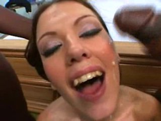 Pretty Alicia Alighati gets her face soaked with hot st...
