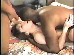 Yummy housewife gets her black dick gangbang fantasy to...