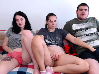 Amateur Threesome Brunette At Home