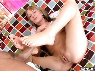 Blonde babe Blue Angel with phat bottom with eager hands