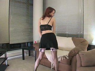 Beautiful Skinny college girl In Black Stockings